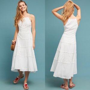 Meadow Rue Sag Harbor White Tiered Midi Dress 00
